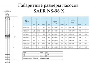 Насос скважинный SAER NS96-X/33 CL95