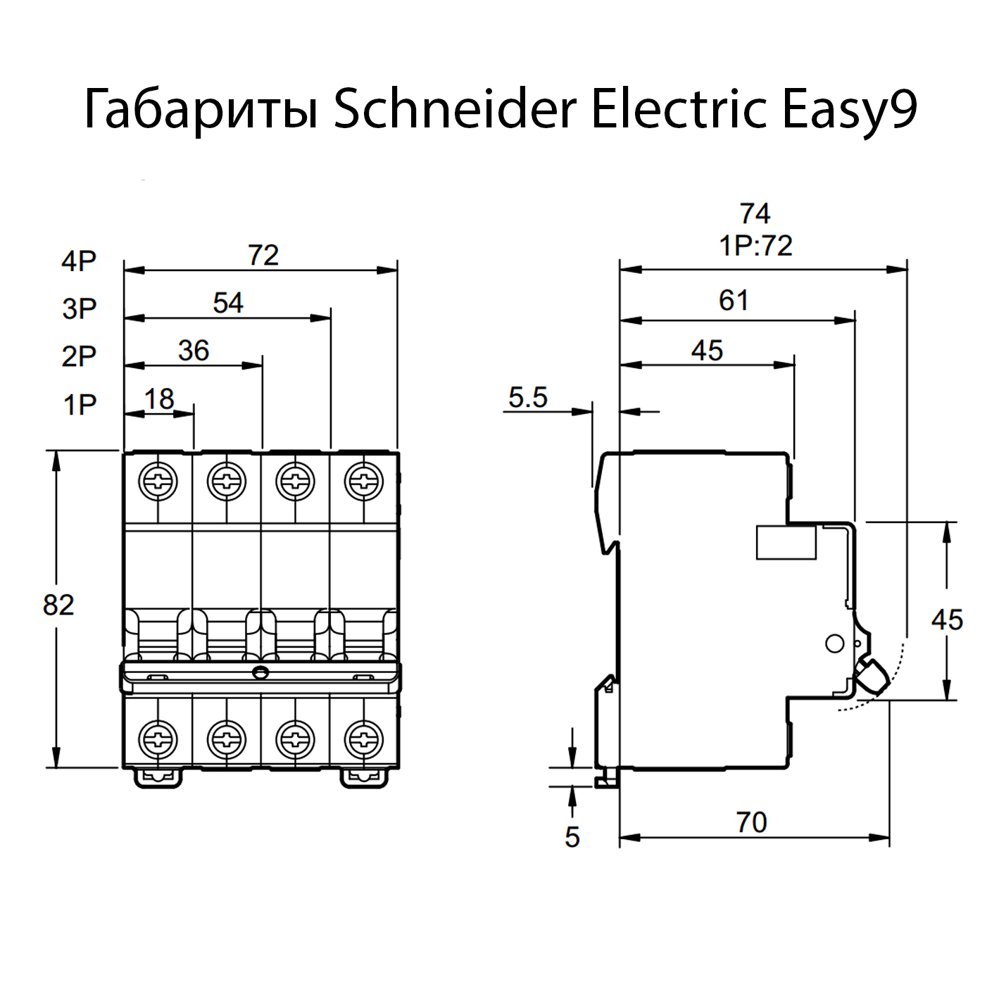 �������������� ����������� Schneider Electric Easy9 3P 20A ���-�� C 4,5�� EZ9F34320